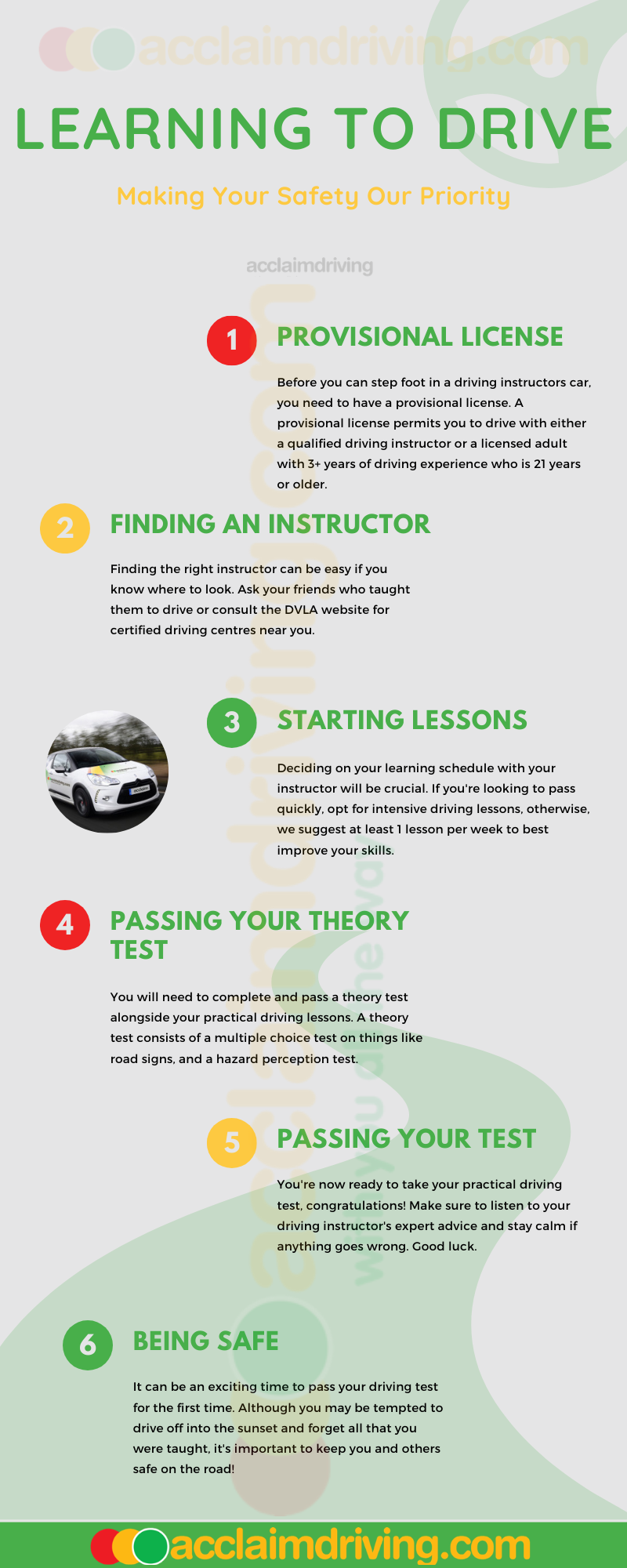 Acclaim Driving infographic for learning to drive